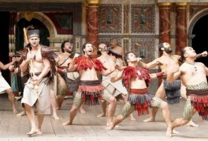 Members of New Zealand?s Ngakau Toa theatre company perform a haka on stage at the Globe theatre in London on April 23, 2012 on the opening day of the Globe to Globe World Shakespeare Festival part of the programme of cultural events being offered for the London 2012 Olympic Games. 37 international companies will present all 37 of Shakespeare?s plays in 37 different languages as part of the London 2012 Festival. The Ngakau Toa theatre will open with their performance of Troilus and Cressida.  AFP PHOTO / MIGUEL MEDINA