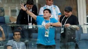 Diego Maradona durante el partido de Argentina-Nigeria, el 26 de junio de 2018