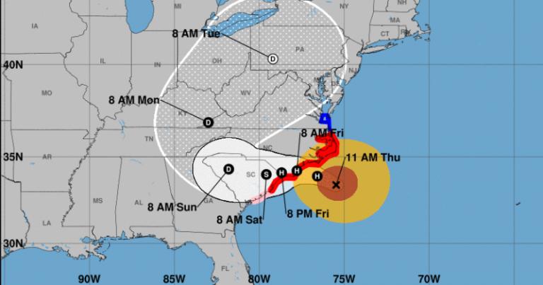 Florence avanza hacia Las Carolinas
