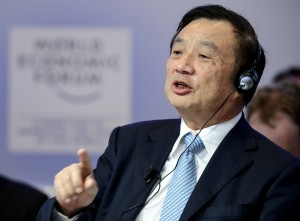 Huawei Founder and CEO Ren Zhengfei speaks during a session of the World Economic Forum (WEF) annual meeting on January 22, 2015 in Davos.   AFP PHOTO / FABRICE COFFRINI        (Photo credit should read FABRICE COFFRINI/AFP/Getty Images)