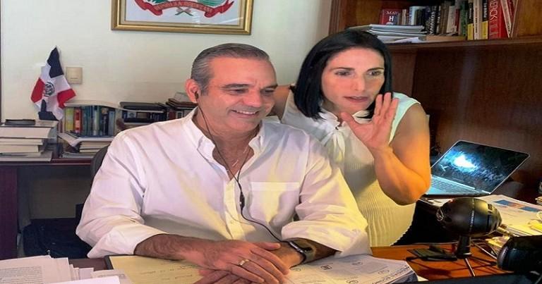 Luis Abinader y Raquel Albaje